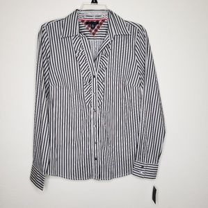 Tommy Hilfiger Striped Button Front Ruffle Shirt